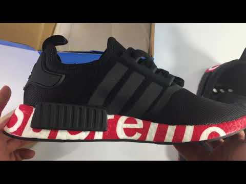 308f7ce3d UA Adidas Supreme NMD R1 Black + Red Pad Supreme Unboxing Review ShoesGather