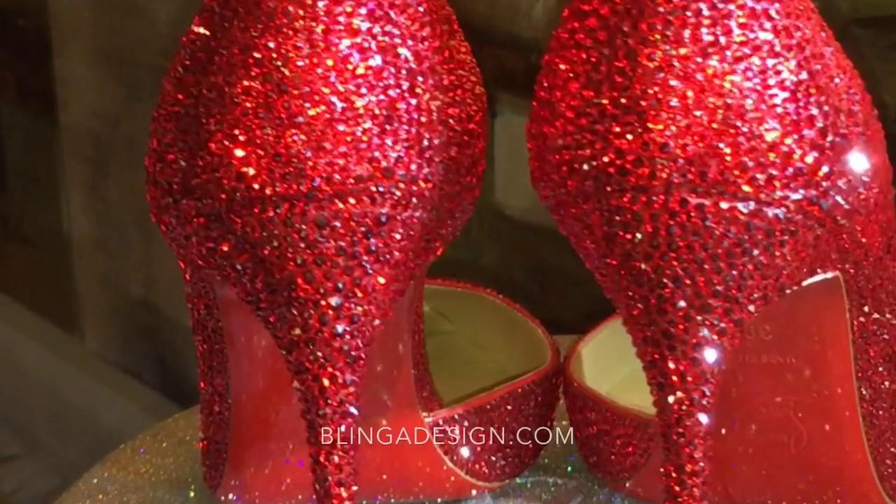 7f660192d Louboutin makeover Red Iriza Strass Swarovski Crystal Wedding Shoes  Blingadesign.com