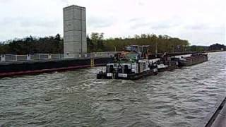 Barge on the world longest (918m) water canal bridge over the Elba river, Magdeburg Germany