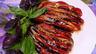 Веер из баклажан с помидорами и сыром. Самый простой и вкусный рецепт.