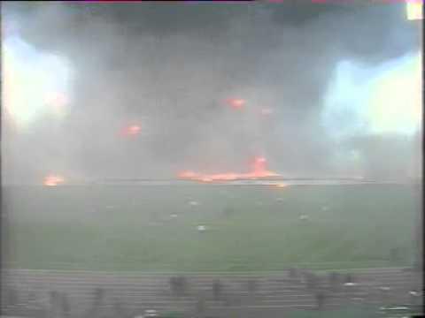 Greek Fans burn OAKA