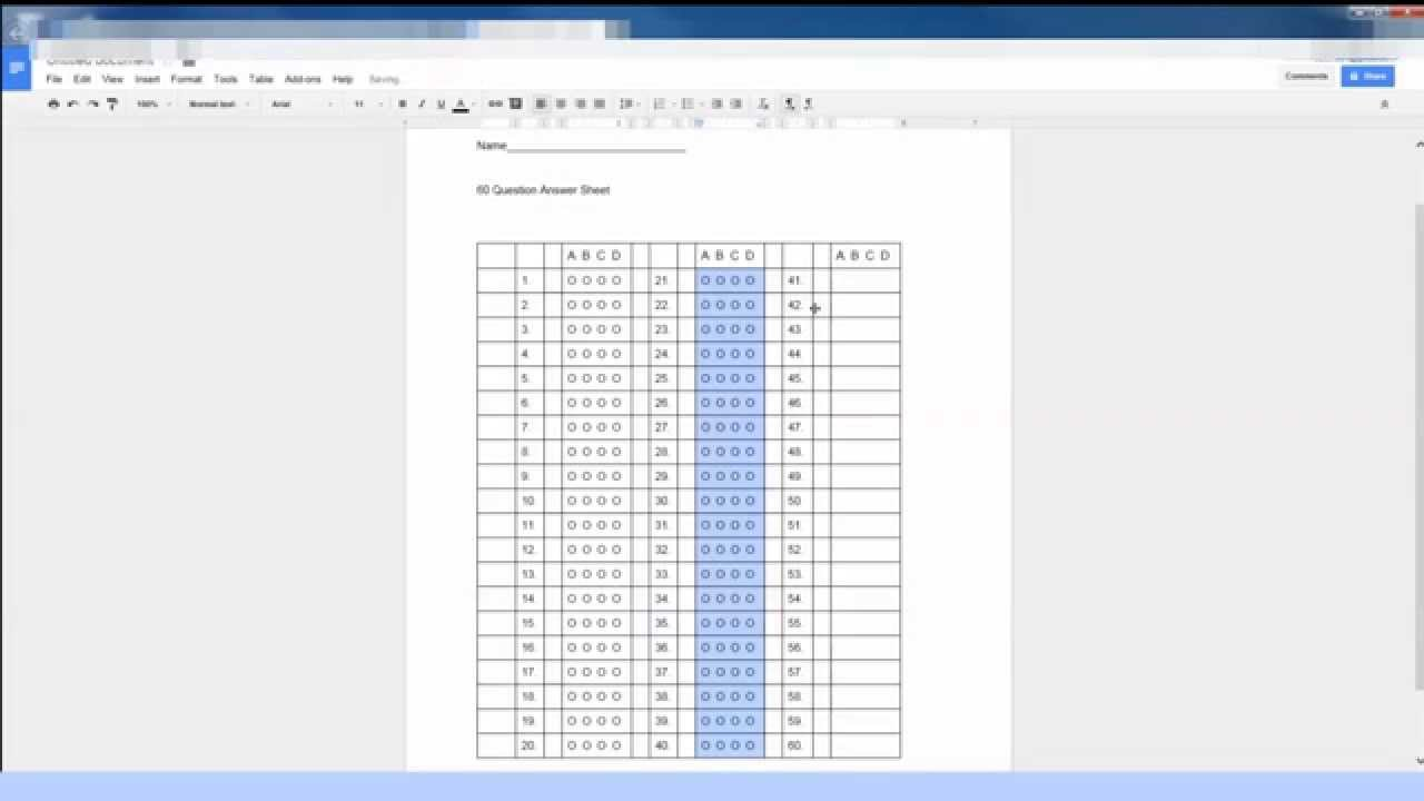 Creating a Multiple Choice Test Sheet in Google Docs for Remark