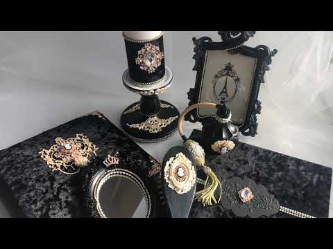 Набор декора для дома в чёрном цвете. Чёрный бархат с золотым декором.