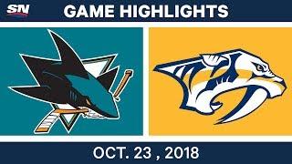 NHL Highlights | Sharks vs. Predators - Oct. 23, 2018
