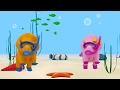 Aprenda as cores com os peixes no mar com Dina e Dino, os Dinossauros | Aprender em português