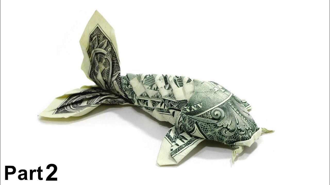 origami dollar koi fish tutorial won park part 2 1 dollar bill money [ 1280 x 720 Pixel ]