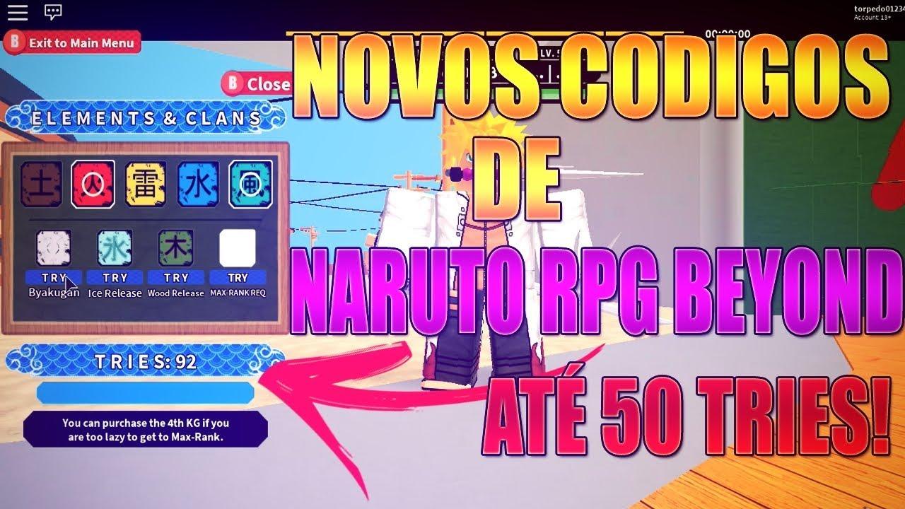 Nrpg Beyond Novos Codigos De Naruto Rpg Beyond Roblox Youtube