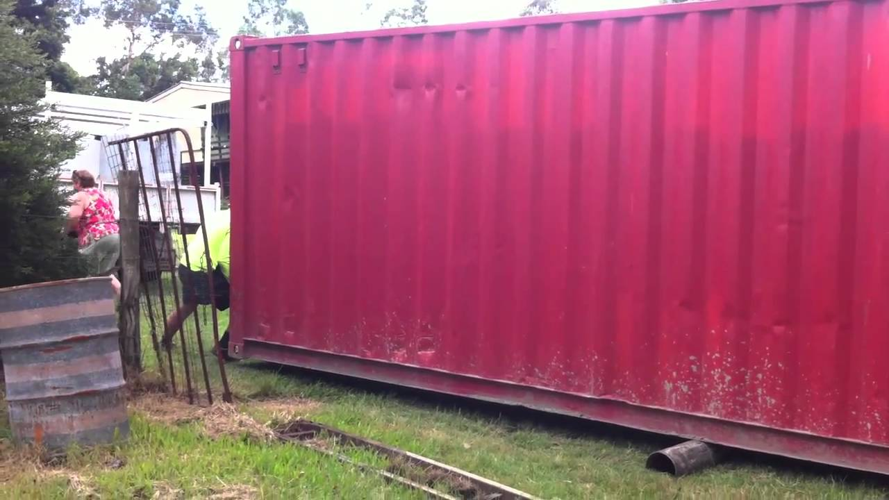 How to move a 40ft sea container - YouTube