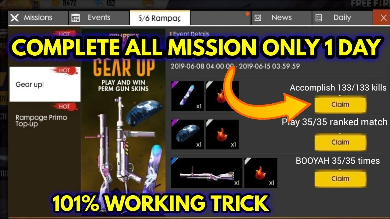 How To Complete Free Fire New Event Only 1 Day How To Complete Gear Up All Missions Youtube