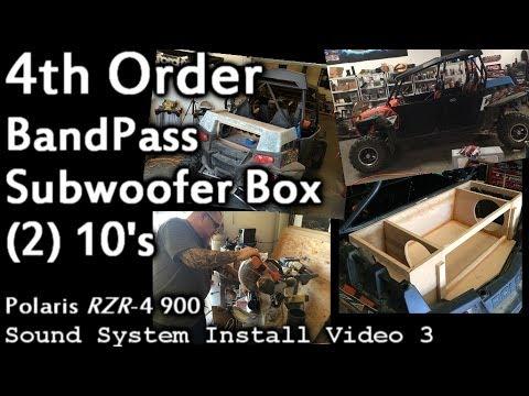 Custom 4th Order Bandpass Subwoofer Box - 2 10's - Polaris RZR-4 Sound System Install Video 3