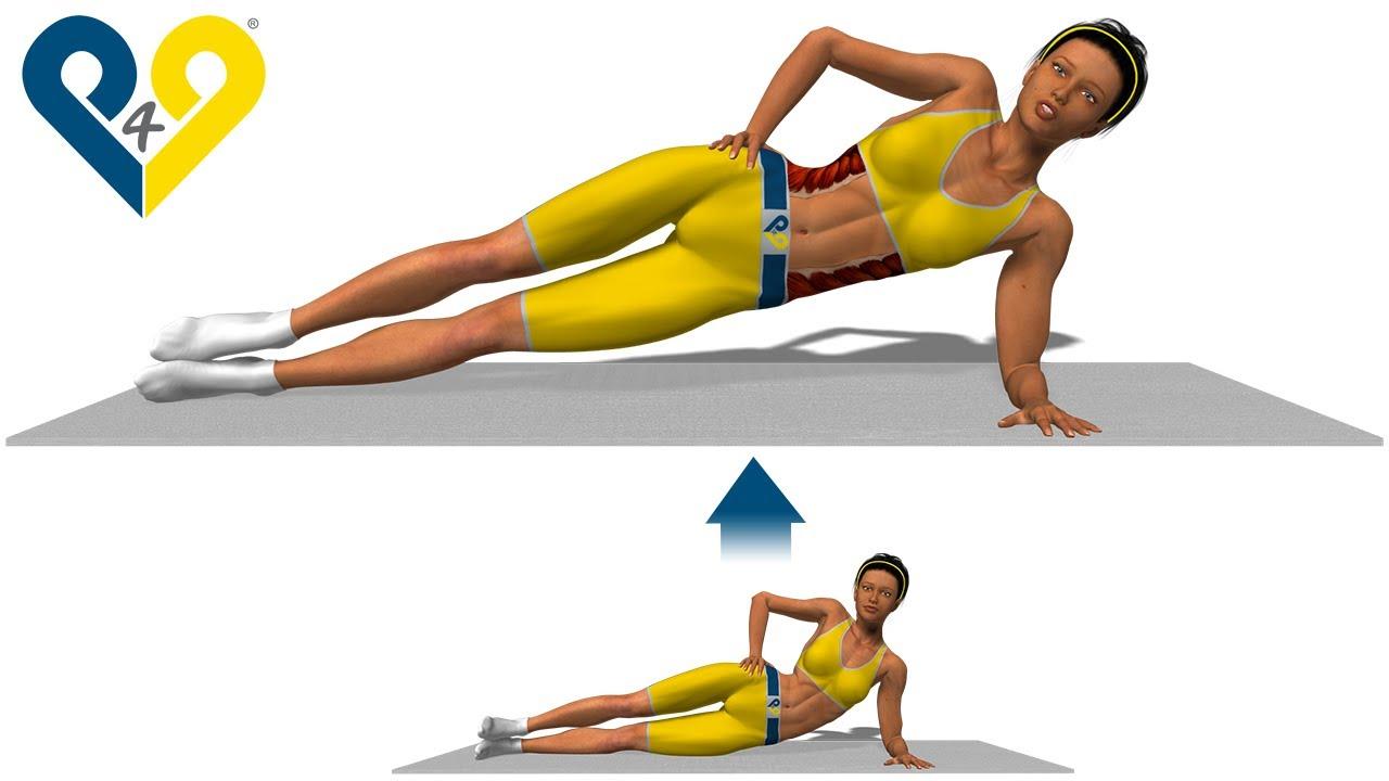 2. Теперь медленно поднимите бедра от пола, при этом напрягая мышцы пресса. Туловище сохраняйте в одной линии от ног до головы. В этом положении продержитесь сколько сможете. 3. Плавно вернитесь в исходное положение и повторите упражнение боковая планка с другой рукой. Для голосования.