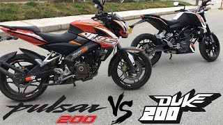 pulsar 200 vs duke 200 | Racing