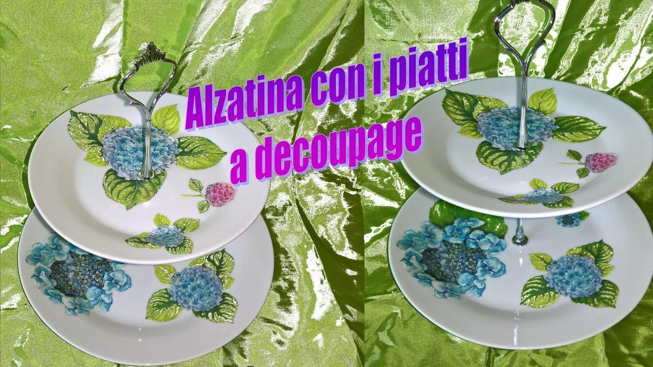 Alzatina fai da te con i piatti decorati a decoupage - YouTube