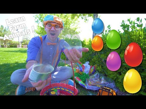 Learn Farm Animals for Children with Blippi | Egg Hunt Bingo!