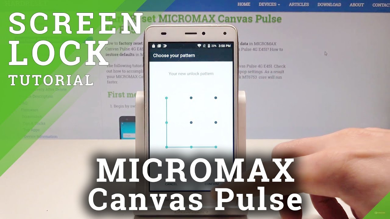 How to Enable Screen Lock in MICROMAX Canvas Pulse - Protect Device