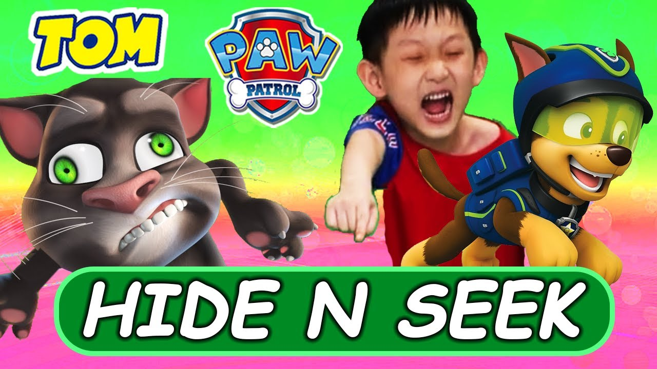 ⚡🙈 PAW PATROL HIDE N SEEK! Mighty Pups and Talking Tom in Real Life Hides From Nate
