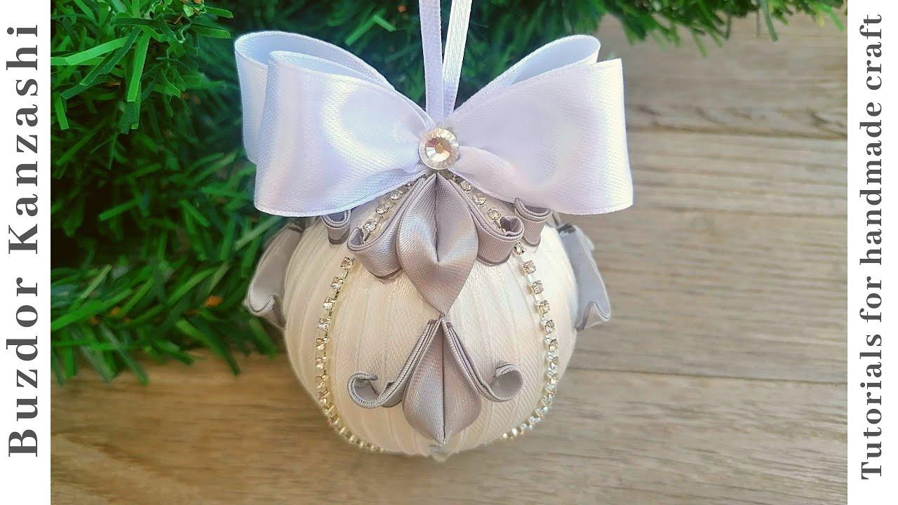 DIY karácsonyi gömb készítése kanzashi technikával 01-20 / Christmas ornaments with kanzashi petals