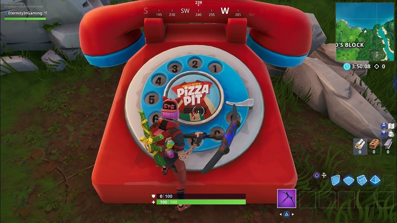 fortnite challenges dial the durrr burger number on the big telephone west of fatal fields - big red phone fortnite