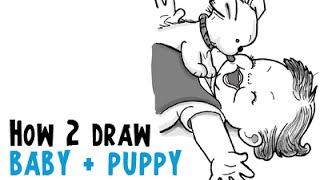 How to Draw A Puppy Licking A Baby Face