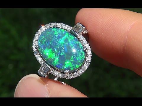 Lightning Ridge Mined Natutal Australian Black Opal Diamond 14k Gold Ring C157