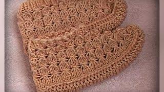 детские ажурные следки, вязание спицами