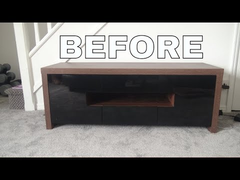 DIY TV STAND MAKEOVER | TURN OLD FURNITURE INTO NEW- DIY EASY STICKY BACK PLASTIC ON FURNITURE 2018