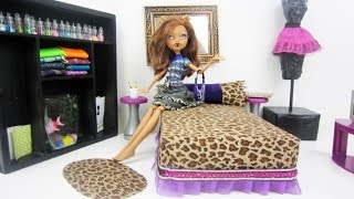 Monster High Tutorial: Clawdeen Wolf Doll Bed - Recycling - Doll Crafts