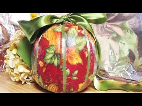 DIY Decoupage a Halloween pumpkin w Fabric