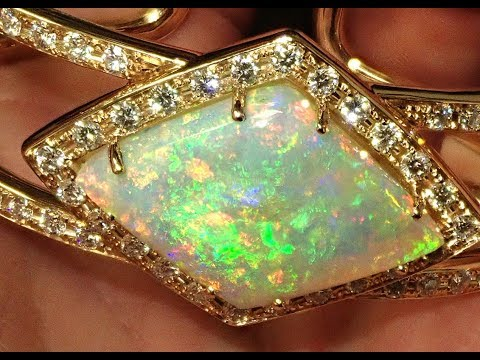 Spectacular Opal Gemstone And Diamond Bracelet