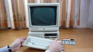 IBM PCjr - booting to IBM DOS 2.1 and demo disk