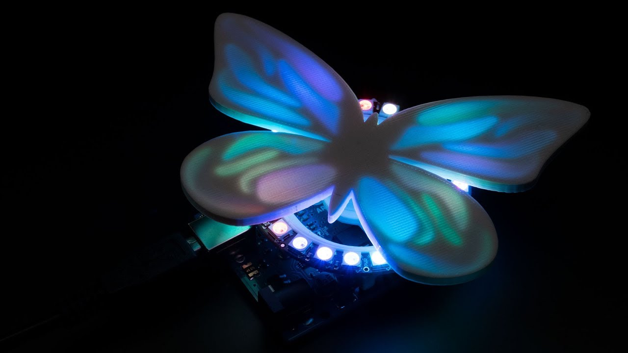 Project] 3D Printed NeoPixel Butterfly Ring That Flutters