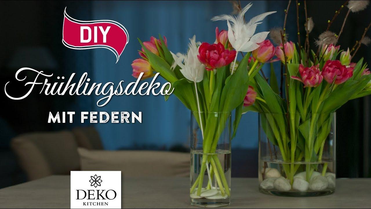 Diy Schnelle Fr Hlingsdeko Mit Federn How To Deko