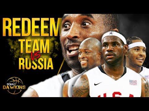 Kobe, Lebron, D-Wade, Melo x 2008 USA Redeem Team DESTROY Russia   SQUADawkins