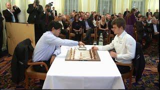 Hikaru Nakamura vs Magnus Carlsen || Amazing checkmate Position Qe2-Qf1! || Zurich Blitz Chess 2014