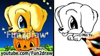 Golden Retriever - Puppy - How to Draw a Dog for Halloween - in a Pumpkin - Cute Drawings - Fun2draw