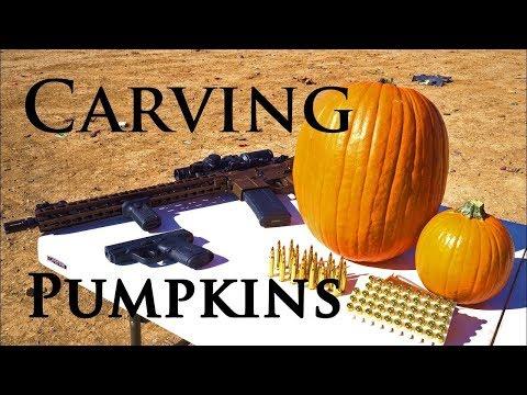 How to Carve Pumpkin W/ Gun AR-15 Rifle DDM4V11 & M&P Shield 9mm