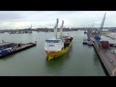 Arrival Damen Shipyards stock vessels transport in Rotterdam