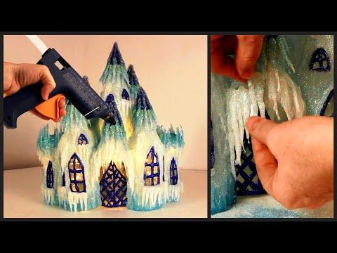 ❣DIY Frozen Castle Lamp Using Plastic Bottles and Hot Glue❣