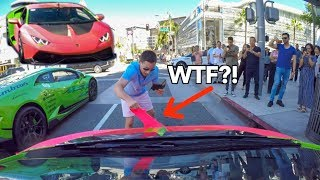 CRAZY Man Rips Off My LAMBORGHINI Wrap *Caught On Camera*