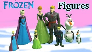 Disney Frozen Queen Elsa Princess Anna Kristoff Olaf Snowman Figures Set Vs Mini Kinder Egg Version