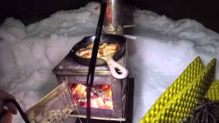 Hot Tent BushCraft W๐od Stove Dinner Winter Overnight Backpacking