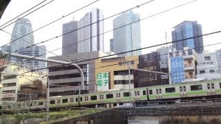 Tokyo View from a Train Arriving at Shinjuku Station [iPhone 4S/HD]