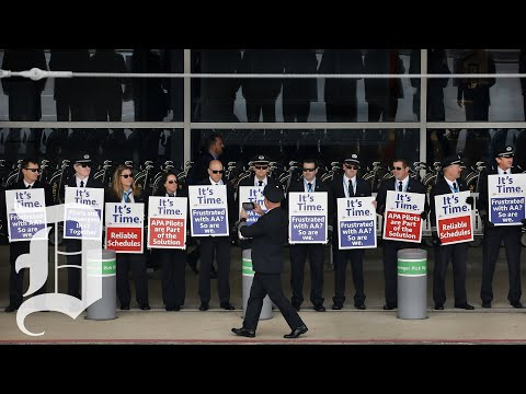 American Airlines Pilots Picket At DFW International Airport