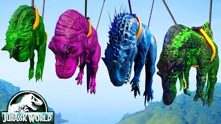 T-Rex Vs I-Rex Vs Spinosaurus Vs Carnotaurus Dinosaurs Fighting Jurassic World Evolution