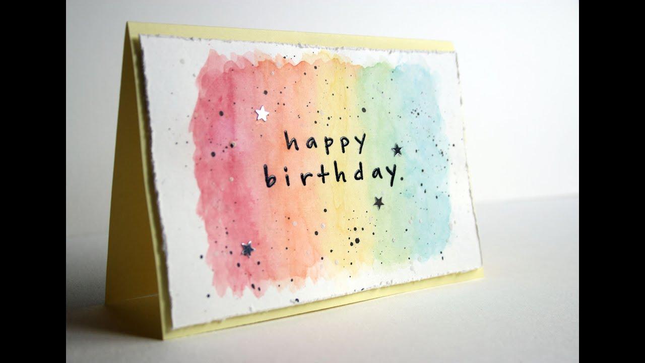 Carte facile aquarelle pour anniversaire - YouTube