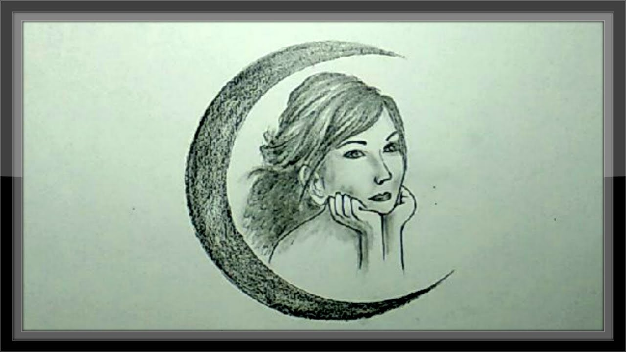 Cool easy drawing pencil drawing beautiful face with moon