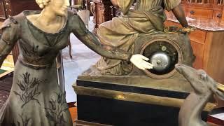 Антикварная скульптура Фигуры женщины и оленя в стиле Ар Деко