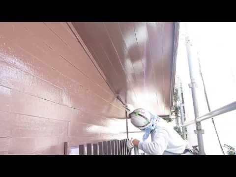 流山市 外壁塗装 耐用年数 外壁廻り縁弱溶剤シリコン上塗り2回目塗装編