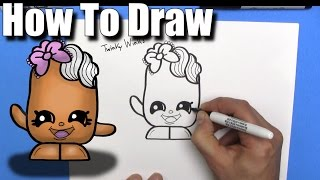 How To Draw Twinky Winks from Shopkins - EASY Chibi - Step By Step