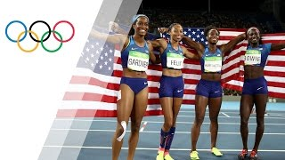 usa womens 4x100m relay wins gold